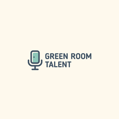Room design with the title 'Creative logo for speaker coaching agency called Green Room Talent'
