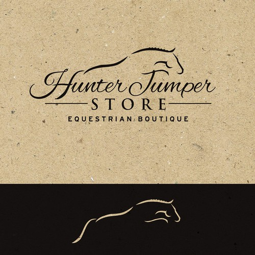Equestrian design with the title 'Charming logo for equestrian barn-boutique'