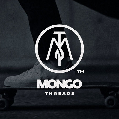 Skateboard logo with the title 'Mongo Threads'