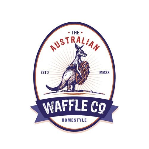 Kangaroo logo with the title 'Waffle Company Logo'