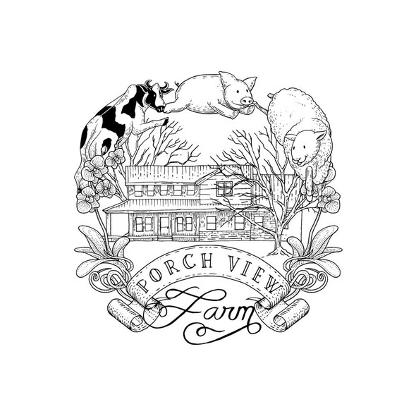 Sheep brand with the title 'Porch View Farm, Hand-drawn'