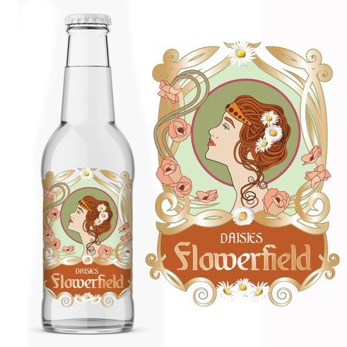Hair label with the title 'Label for lemonade drink in Art Nouveau style'