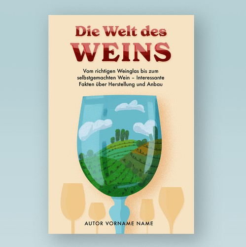 Wine glass design with the title 'Book cover design about wine'