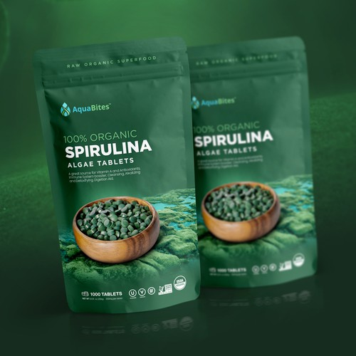 Green packaging with the title 'Packaging Design for a trendy, healthy algae brand (Spirulina) Stand up pouch packaging'
