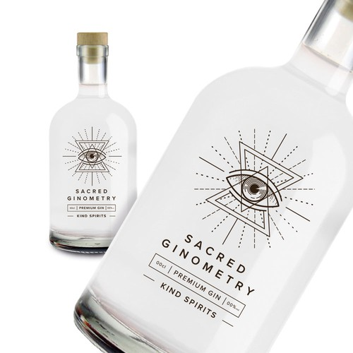 Geometric label with the title 'Gin bottle '