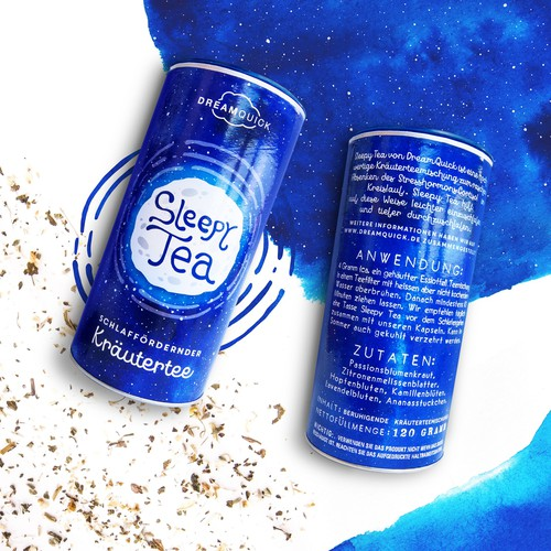 Typography packaging with the title 'Sleepy Tea for DreamQuick'