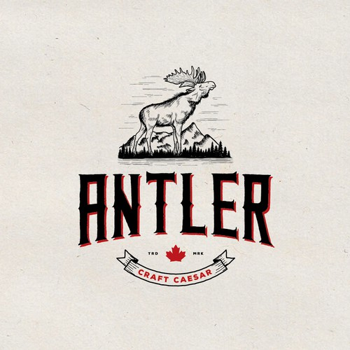 Moose design with the title 'Hand-drawn logo for Antler Craft Ceasar'