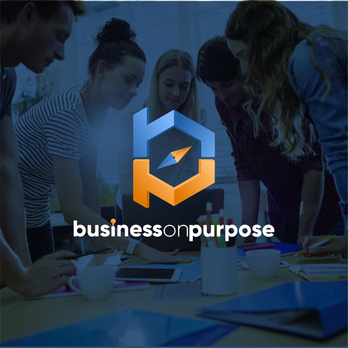 Pink and orange design with the title 'BusinessOnPurpose'