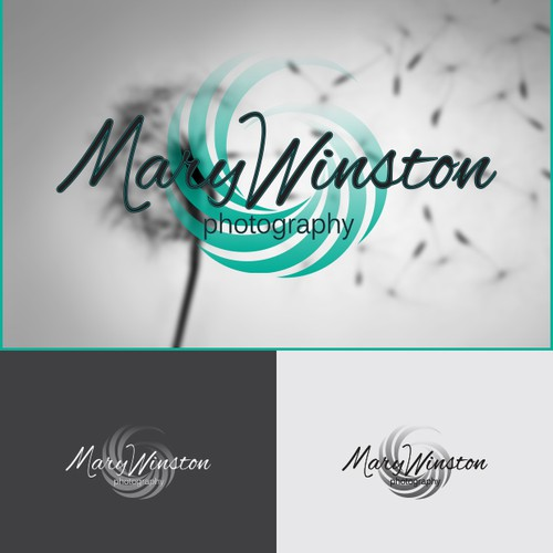 "Light blue logo with the title '""MaryWinston Photography""'"
