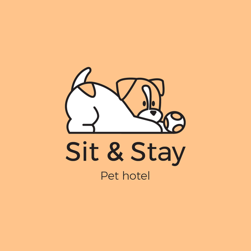 Pet sitting logo with the title 'Logo concept for pet boarding or in home visits service'