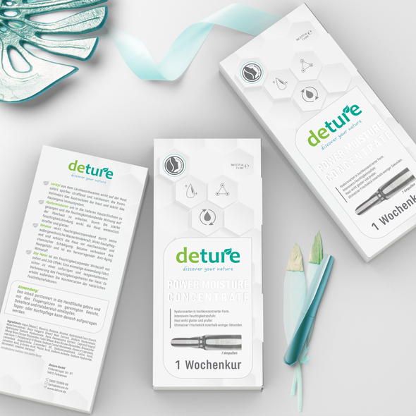 3D packaging with the title 'Packaging design for natural but luxery productline'