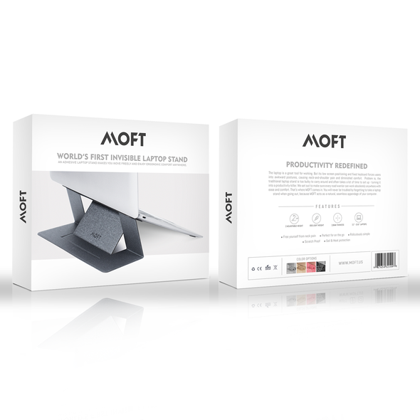 Technology packaging with the title 'MOFT Laptop Stand Design'