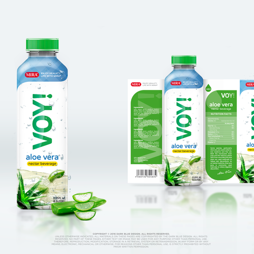 Beverage packaging with the title 'VOY! Aloe vera nectar beverage'