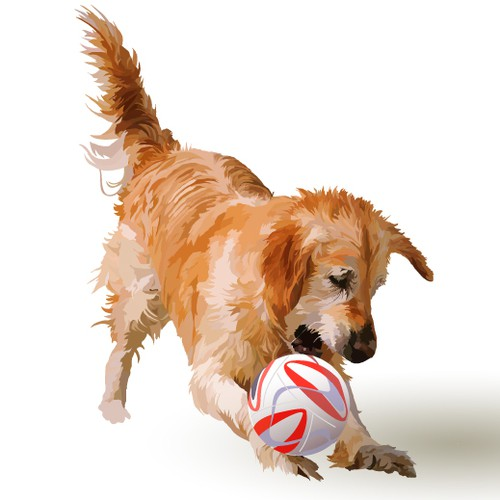 Soccer ball design with the title 'Golden Retriever at Play!'