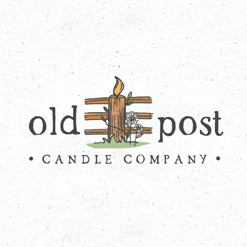 Weathered design with the title 'old post candle co.'