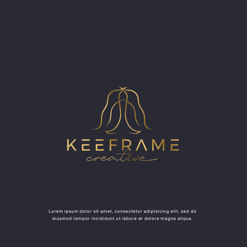 One line design with the title 'LOGO CONCEPT FOR KEEFRAME CREATIVE'