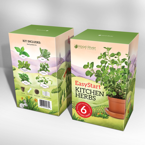 Box packaging with the title 'Kitchen Herbs kit box design. Packaging design with custom hand drawn illustration.'