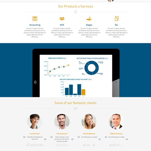 Accounting website with the title 'New web design for big accounting firm'