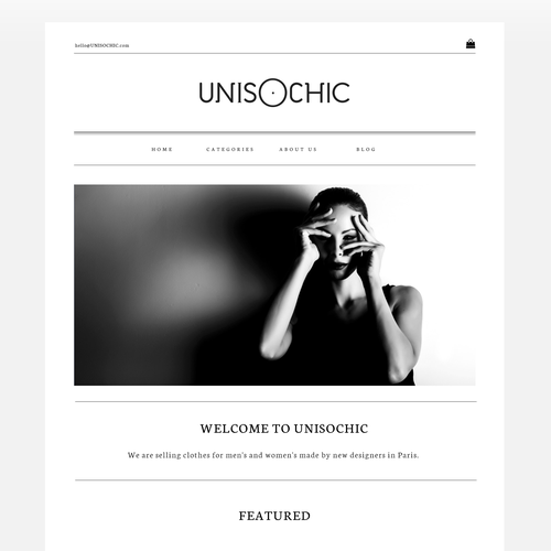 Black and white design with the title 'sleek web design concept for fashion store'