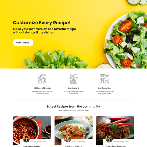 Natural website with the title 'Website Design for Food Recipes Online Sharing.'