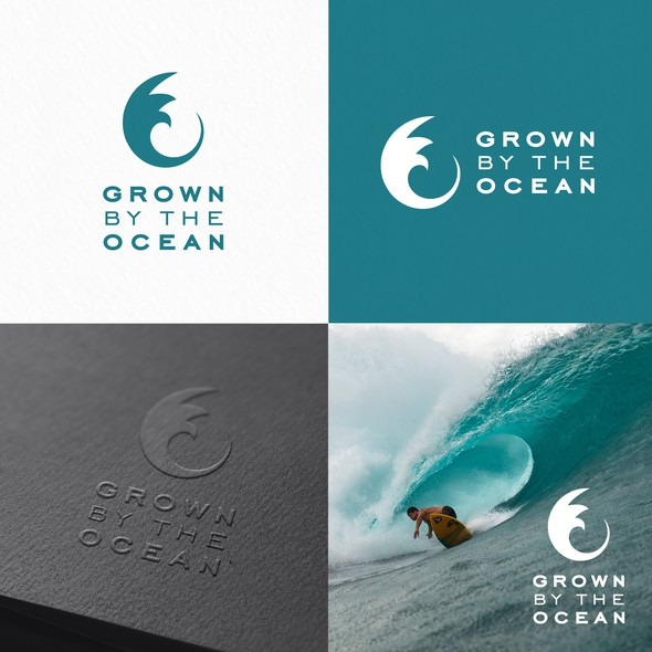 Ocean wave design with the title 'Grown by the ocean'