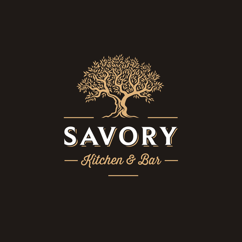 Kitchen logo with the title 'Savory Kitchen & Bar'
