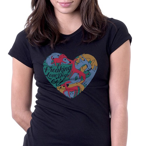 Heart t-shirt with the title 'dog lover t-shirt'