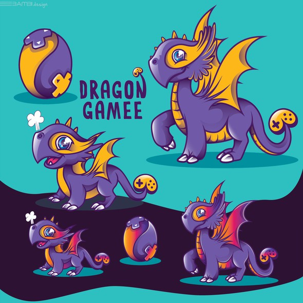 Mascot artwork with the title 'dragon mascots'