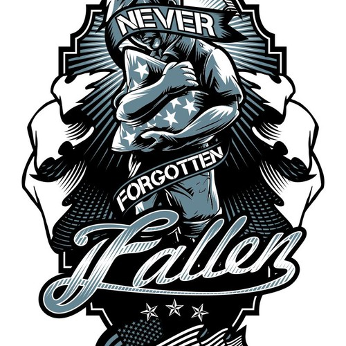 American logo with the title 'Fallen Never Forgotten needs a new logo'