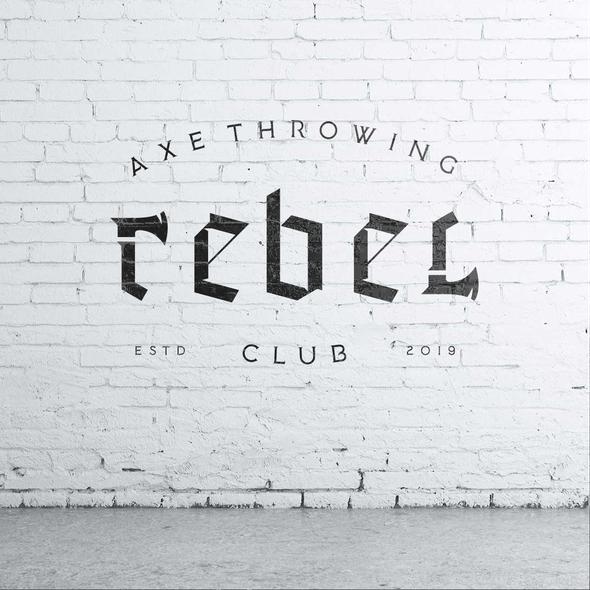 Axe logo with the title 'Rebel Axe Throwing Club Logo'