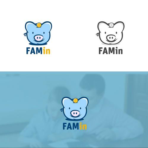 Piggy bank logo with the title 'Hand drawn unique piggy Bank Logo.'