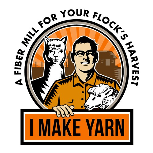 Alpaca design with the title 'I Make Yarn Logo'