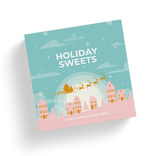 Christmas packaging with the title 'Sugar Cubes packaging'