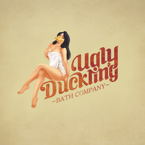 Pin-up girl logo with the title 'Vintage Logo Design'