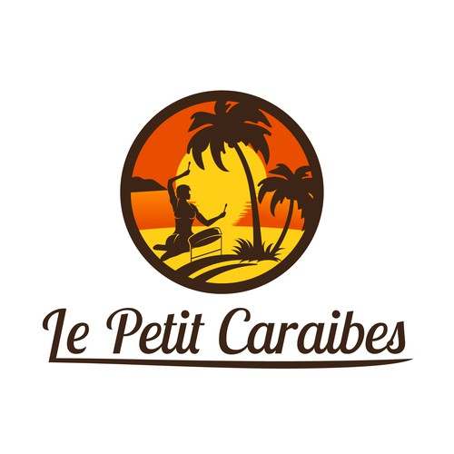 Caribbean logo with the title 'Create sunset island logo for Caribbean restaurant Le Petit Caraibes'