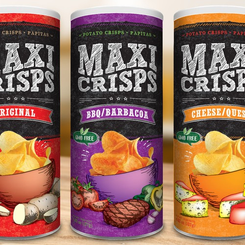Snack packaging with the title 'Memorable packaging for potato chips'