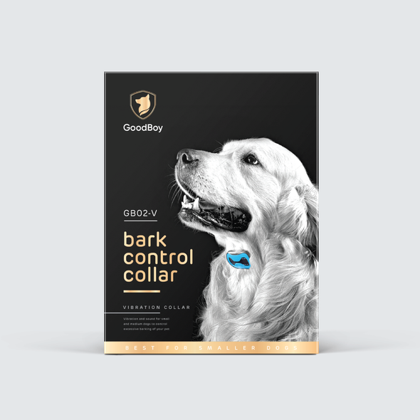 Retail packaging with the title 'Dog bark collar box'