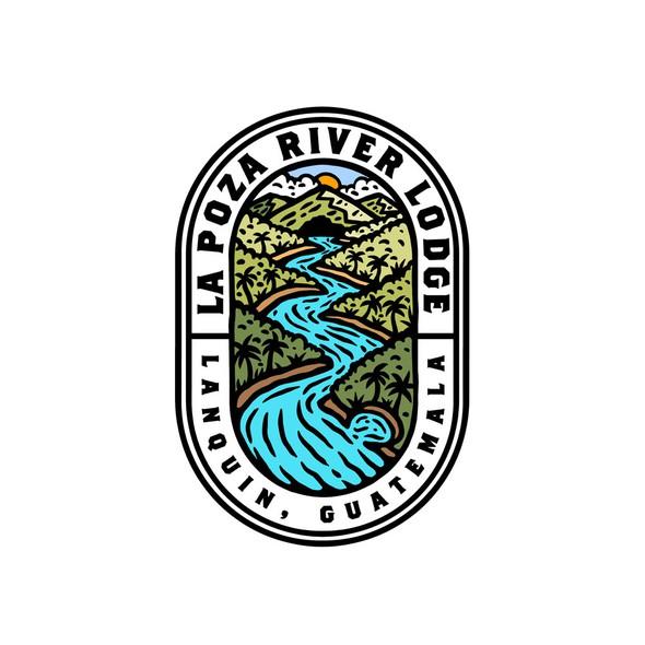 Jungle design with the title 'LA Poza River Lodge'