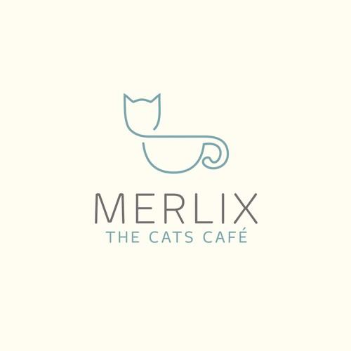Cat logo with the title 'Beautiful Monoline-Design'