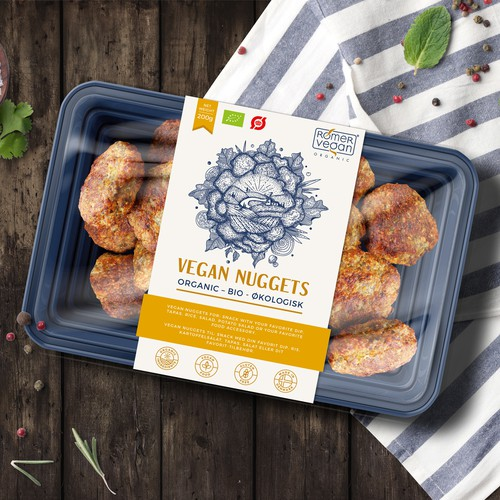 Vegan design with the title 'Label design for Vegan Nuggets'