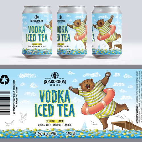 Cocktail design with the title 'Canned cocktail label, Lemon'