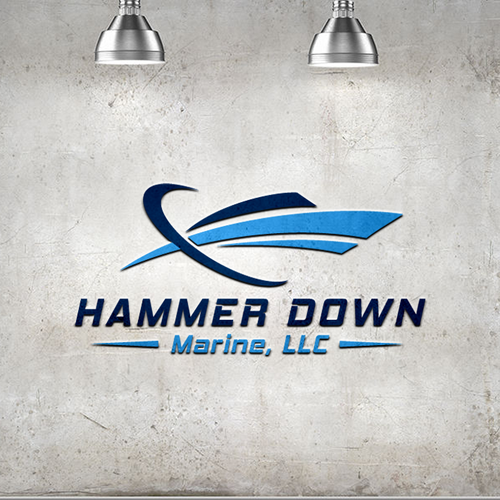 LLC logo with the title 'Bold logo for Hammer Down  Marine, LLC.'