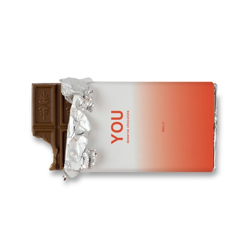 Gradient packaging with the title 'One Colour Gradient Chocolate Design'