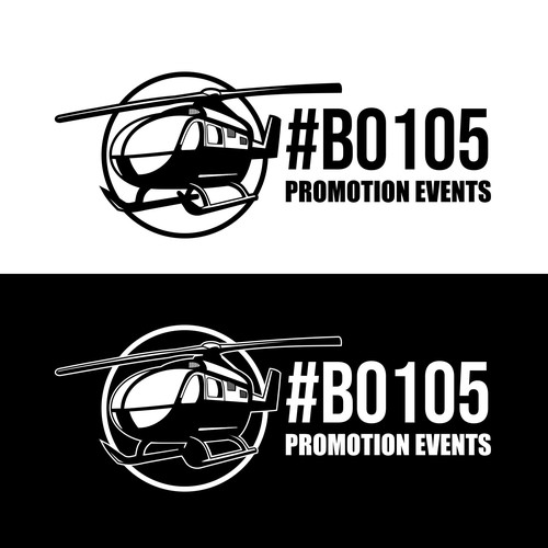 Helicopter logo with the title '#BO105 Promotion events'