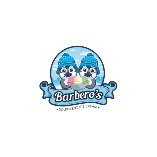 Winter design with the title 'Barbero's Gourment Ice Cream'
