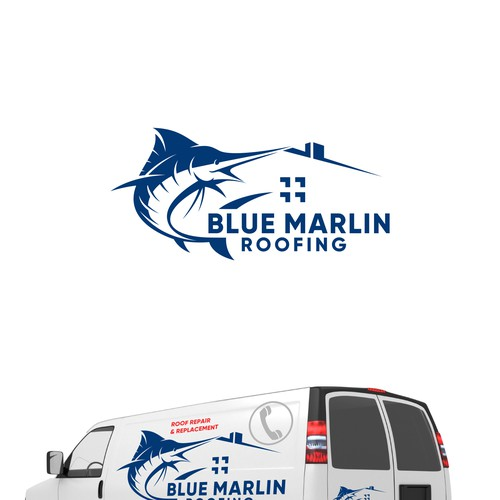 Repair logo with the title 'Blue Marlin Roofing'