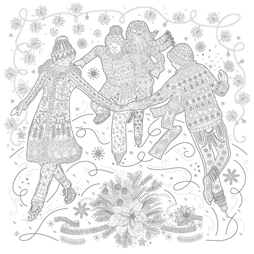 Ice design with the title 'Adult coloring book illustration'