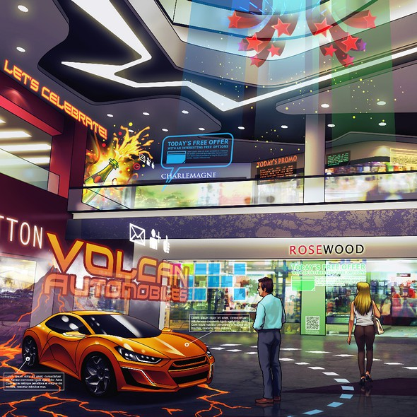 Mall design with the title 'Augmented Reality, Future of Commerce, Shopping'