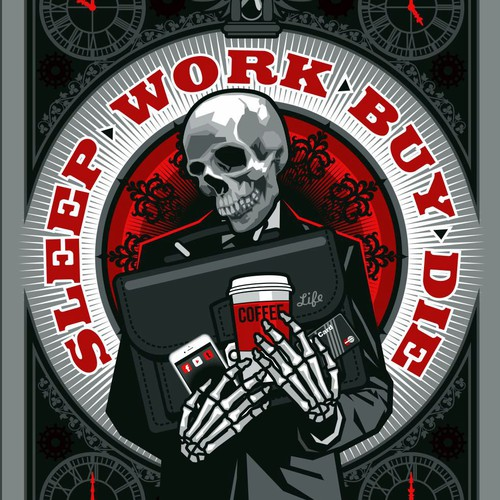 CorelDRAW illustration with the title 'Sleep Work Buy Die'