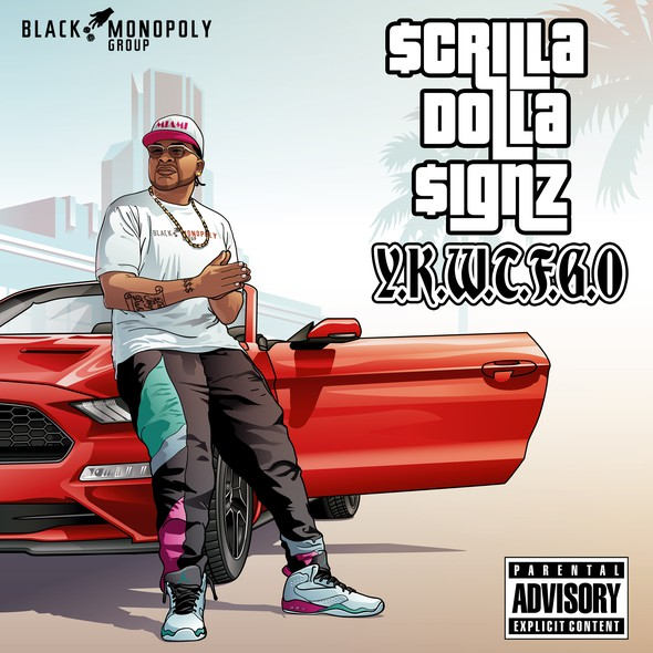 Singer illustration with the title 'Music Cover Art - Scrilla Dolla Signz'
